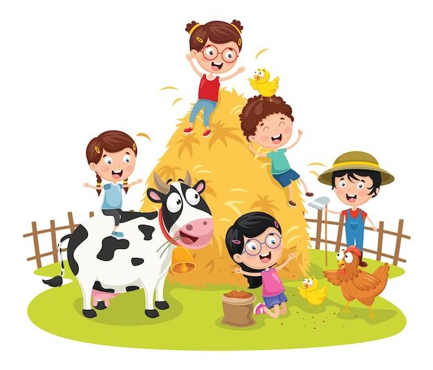 Ilustración vectorial de niños de granja