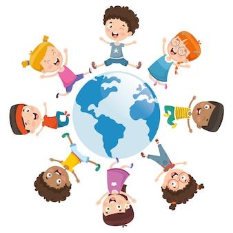 Ilustración vectorial de niños jugando alrededor del mundo