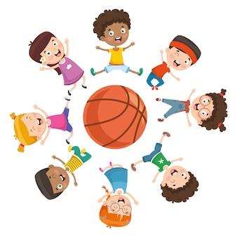 Ilustración vectorial de niños jugando alrededor de una pelota