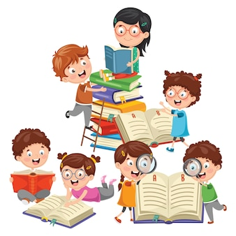 Ilustración vectorial de niños jugando a la escuela