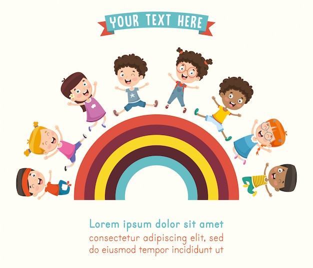 Ilustración vectorial de niños jugando