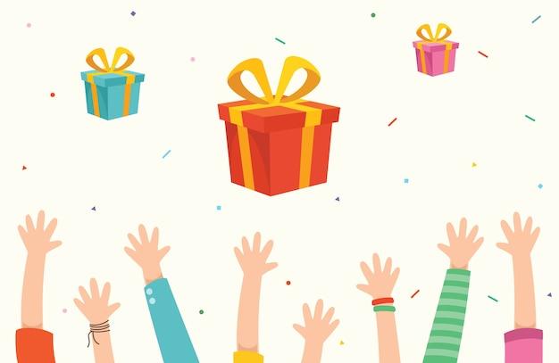 Ilustración vectorial de niños levantando las manos para la celebración