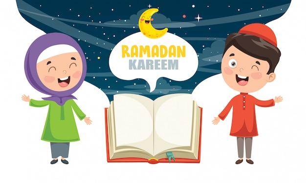 Ilustración vectorial de niños musulmanes que celebran el ramadán
