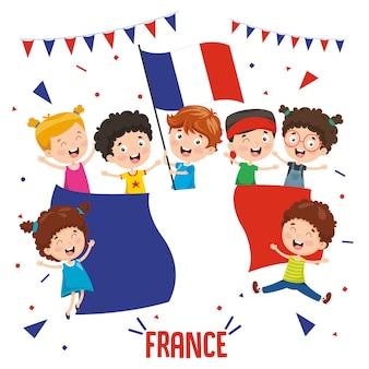 Ilustración vectorial de niños sosteniendo la bandera de francia