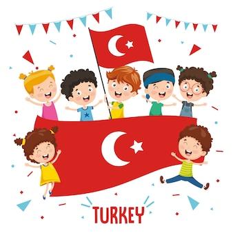 Ilustración vectorial de niños sosteniendo la bandera de turquía