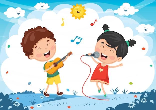 Ilustración vectorial de niños tocando música y cantando