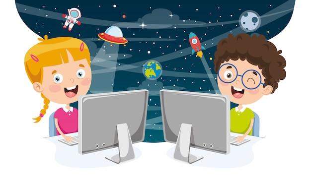 Ilustración vectorial de niños usando la computadora