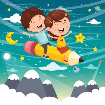 Ilustración vectorial de niños volando con lápiz