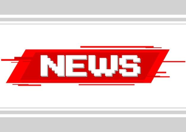 Una ilustración vectorial de noticias de texto de píxeles sobre fondo rojo
