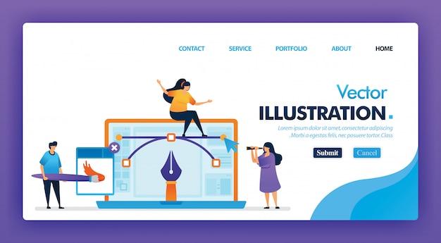 Ilustración vectorial o diseño de concepto de diseñador gráfico para la página de inicio.