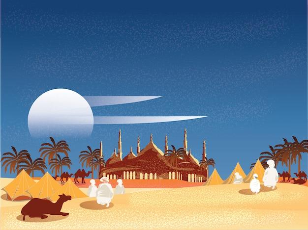 Ilustración vectorial de un oasis en el desierto árabe. aduanas o viajeros islámicos en egipto.