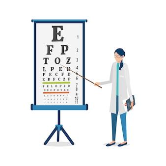 Ilustracion vectorial oftalmólogo y cuadro de agudeza visual.