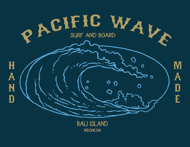 Ilustración vectorial de ola oceánica