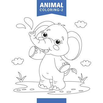 Ilustración vectorial de la página para colorear animales