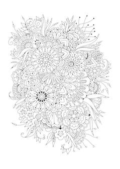 Ilustración vectorial página para colorear. fondo floral en blanco y negro.