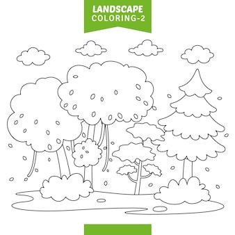Ilustración vectorial de la página para colorear paisaje