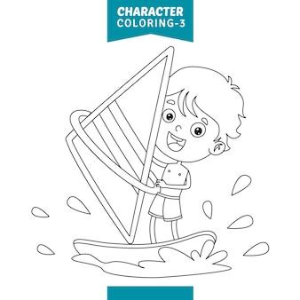 Ilustración vectorial de la página para colorear personajes
