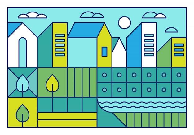 Ilustración vectorial con paisaje de la ciudad en estilo moderno y lineal