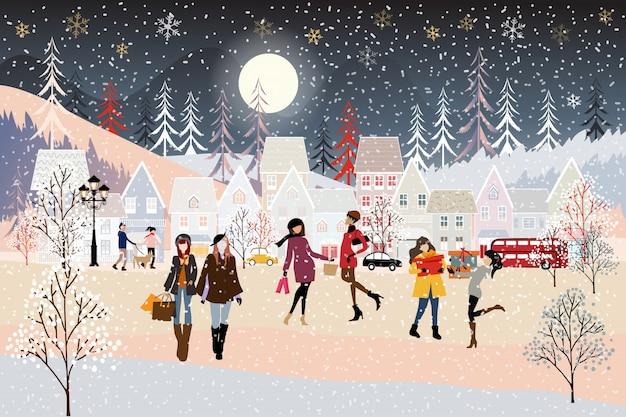 Ilustración vectorial paisaje de invierno, noche de navidad con gente celebrando en el parque.