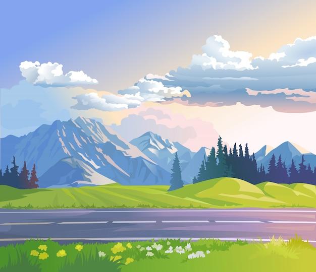 Ilustración vectorial de un paisaje de montaña