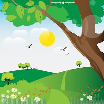 Ilustración vectorial de paisaje natural