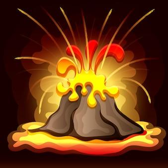 Ilustración vectorial de paisaje prehistórico con volcán