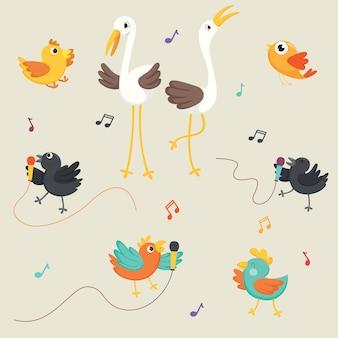 Ilustración vectorial de pájaros cantando