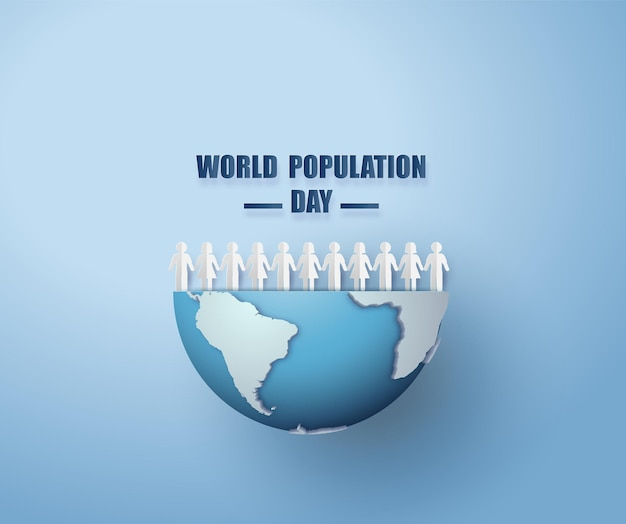 Ilustración vectorial, pancarta o póster del día mundial de la población estilo de corte de papel.