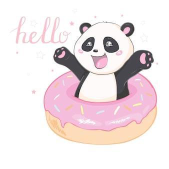 Ilustración vectorial: un panda gigante de dibujos animados lindo está sentado en el suelo, sacando la lengua, con una rama de bambú en la mano.