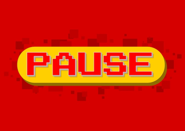 Una ilustración vectorial de la pantalla de pausa del juego de computadora de píxeles sobre fondo rojo