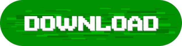 Una ilustración vectorial de la pantalla de texto de descarga de píxeles sobre fondo verde