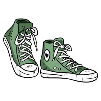 Ilustracion vectorial par de zapatillas textil hipster con puntera de goma.