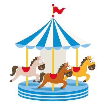 Ilustración vectorial del parque de atracciones