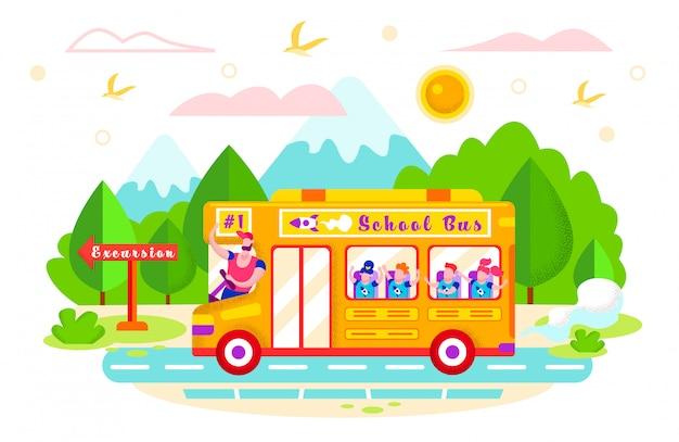 Ilustración vectorial paseos en autobús escolar en excursión.