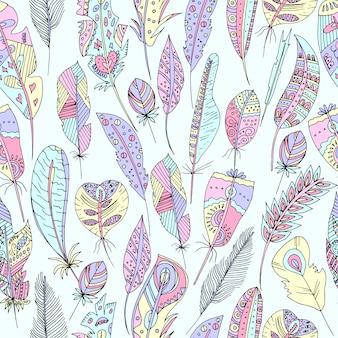 Ilustración vectorial de un patrón multicolor sin fisuras de plumas de aves