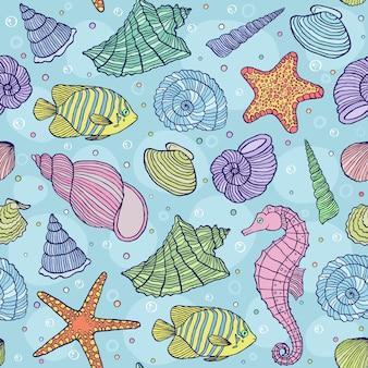 Ilustración vectorial de patrones sin fisuras con conchas marinas
