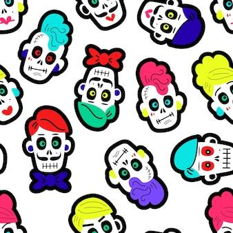 Ilustración vectorial de patrones sin fisuras con varias calaveras mexicanas tradicionales multicolores o s ...