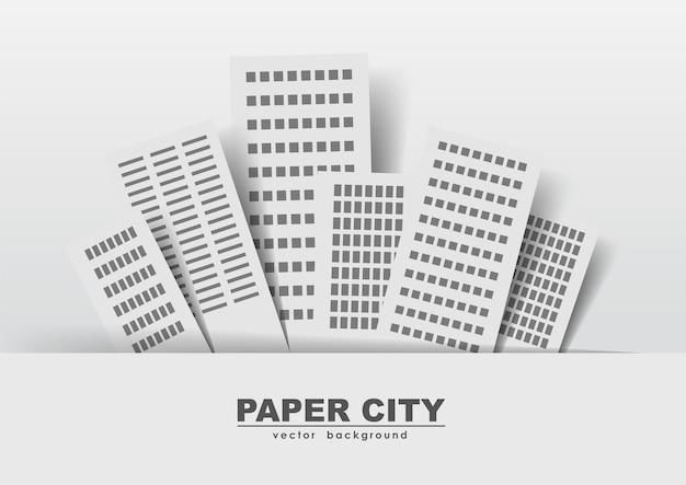 Ilustración vectorial: pegatinas de edificios de papel, ciudad.