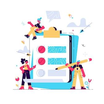 Ilustración vectorial, pequeñas personas completan un formulario, concepto moderno