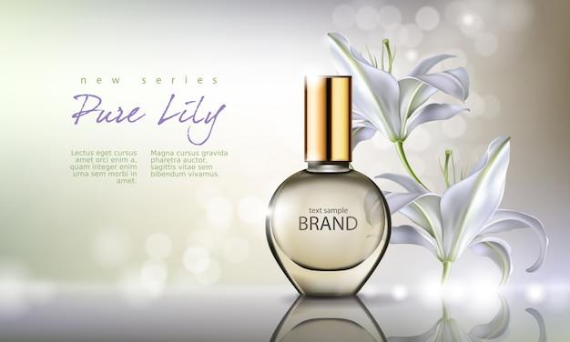 Ilustración vectorial perfume en una botella de vidrio sobre un fondo con lirio blanco de lujo