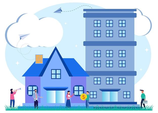 Ilustración vectorial personaje de dibujos animados gráficos de comprar y elegir vivienda