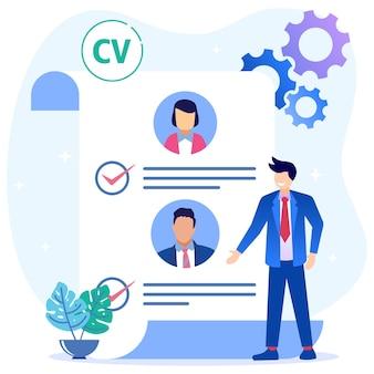Ilustración vectorial personaje de dibujos animados gráficos de contratación de empleados
