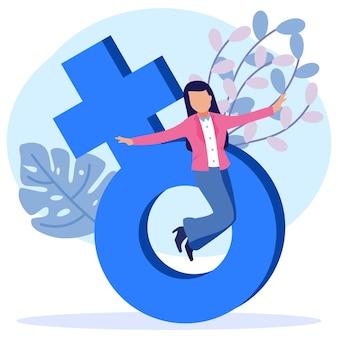 Ilustración vectorial personaje de dibujos animados gráficos del empoderamiento de las mujeres