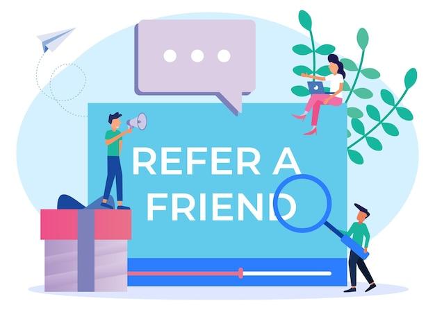 Ilustración vectorial personaje de dibujos animados gráficos de recomendar a un amigo