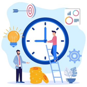 Ilustración vectorial personaje de dibujos animados gráficos del tiempo es dinero