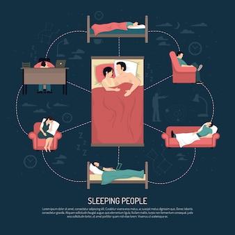 Ilustración vectorial de personas durmiendo