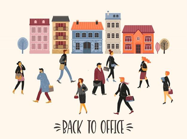 Ilustración vectorial de personas que van a trabajar.