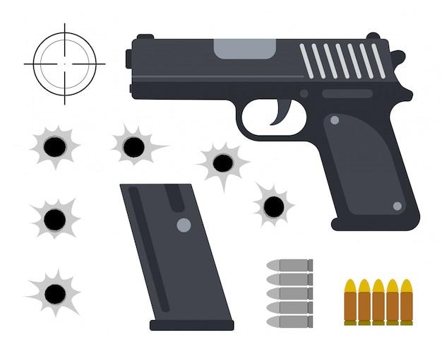 Ilustración vectorial de pistola con conjunto de bala y agujeros de bala