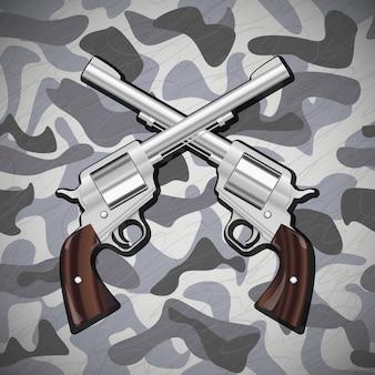 Ilustración vectorial pistolas cruzadas sobre fondo de camuflaje