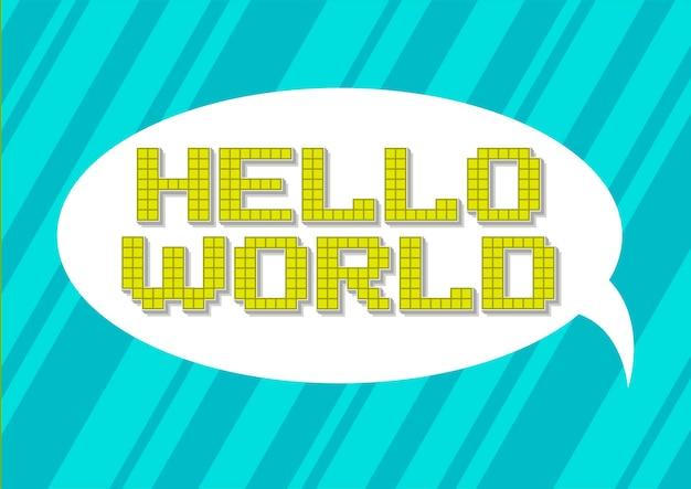 Una ilustración vectorial de pixel art hello world lema sobre fondo blanco